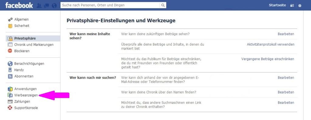 Facebook Privatsphäreeinstellungen