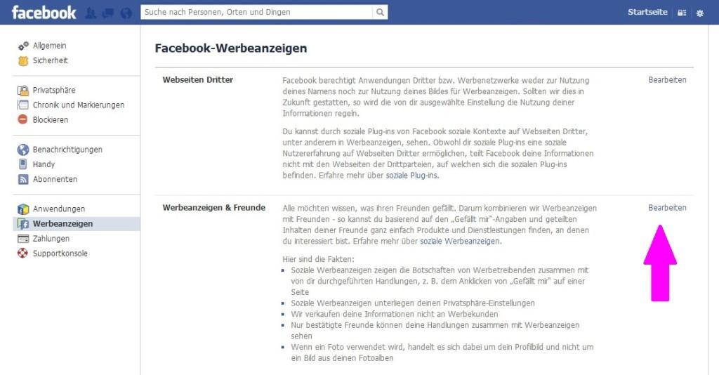 Facebook Werbeanzeigen