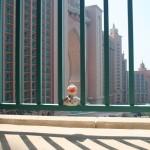 Der Blick vom Hotelbalkon  in der heißen Nachmittagssonne.