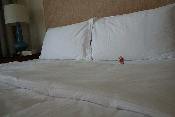 Im Bett war genug Platz für die kleine Ente.