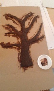Fingerabdruckbaum bemalt